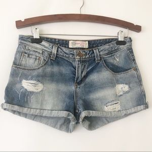 TRF Zara distressed jean shorts